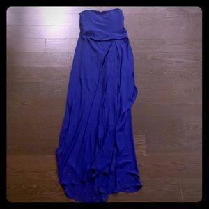 Strapless cobalt blue floor length dress